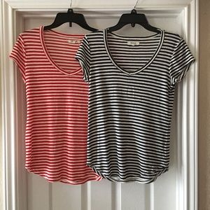 2 Madewell Red & Navy Striped Fitted T-Shirts